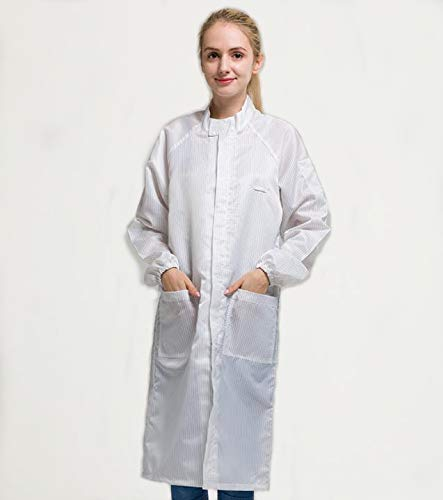 Sunday 7 ESD Anti-static Stand Collar Zipper Lab Coat Science Jacket Men/Women Long-sleeve Non-disposable Workwear Uniform (L, White)