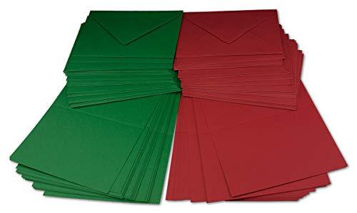 SCHEDA pacchetto DIN B6| Rosso scuro/verde scuro | Pieghevole carte con piega B6–12x 16,9cm & buste–12,4x 17,5cm | Ideale per Natale, biglietti di auguri e inviti