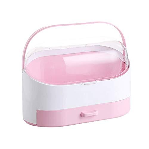 Boîte de Rangement cosmétique Accueil PP + PC Grande capacité Boîte de Rangement cosmétique (Color : Pink)