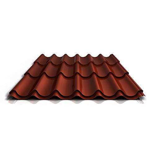 Pfannenblech | Ziegelblech | Dachziegelblech | Profil PA47/1060RTA | Material Aluminium | Stärke 0,70 mm | Beschichtung 25 µm | Farbe Rotbraun