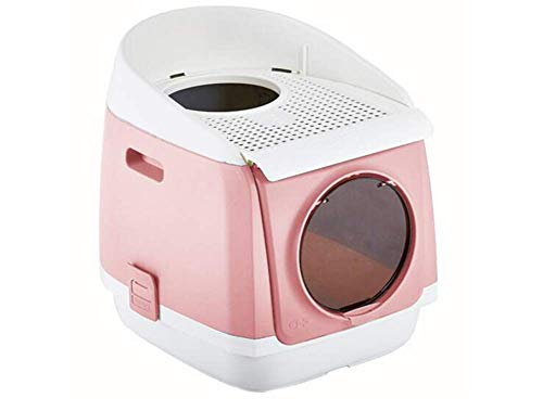 Pet Litterbox, Zwei Türeinstieg Katzentoilette Easy Clean Fully Katzentoilette Geschlossenen reduzieren Wurf Scatter Up 21,6 X 16,5 X 19,4 Zoll, Rosa LOLDF1 (Color : Pink)
