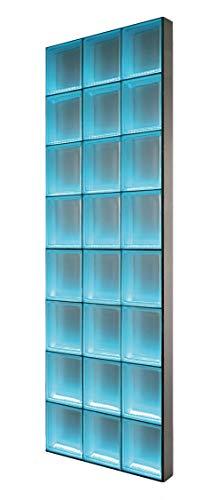 Fuchs Design Light My Wall® beleuchtete Glassteinwand 73,5x196 cm - DIY - Riva Weiß 1-seitig satiniert Weiß 24x24x8 cm Beleuchtung Bunt (Farbwechsel) - Aluminium satiniert - Raumteiler Duschwand