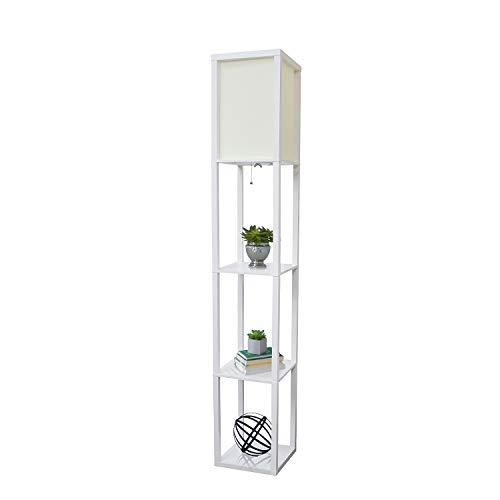 Simple Designs Home LF1014-WHT Etagere Organizer Storage Shelf Linen Shade Floor Lamp, White