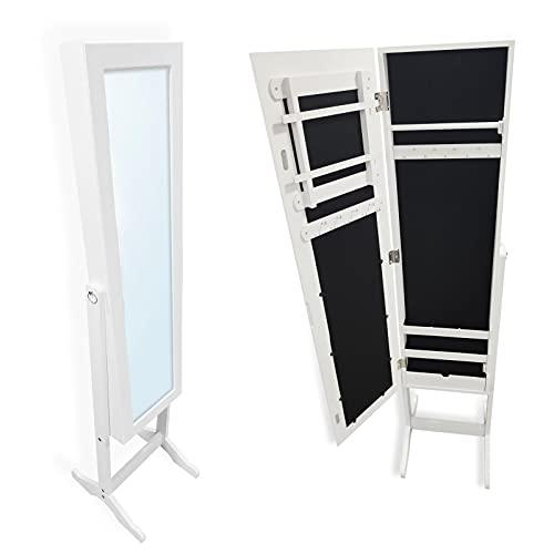 EUROXANTY Espejo Joyero   Armario de Pie con Espejo para Joyas   Diseño Elegante en Tonos Blancos   145 x 34 x 37,5 Centímetros  