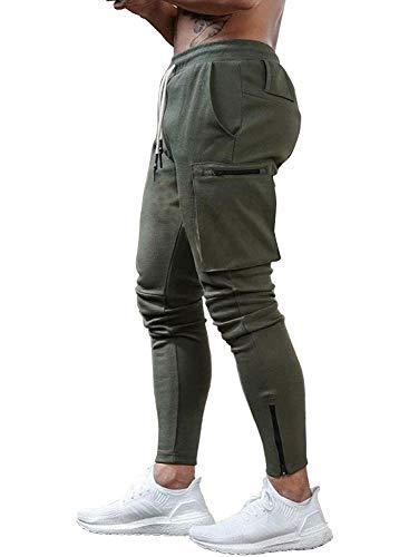Yidarton Hose Herren Jogginghose Trainingshose Sporthose Fitness Slim Fit Sweatpants Freizeithose Jogger Männer Pants (Armee Grün, Medium)