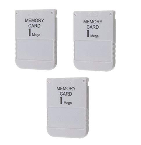DARLINGTON & Sohns 3 Stück Speicherkarten für PS1 Playstation 1 Memory Cards 1 MB Memorycard Memory Card Speicher Karte passend für Sony Playstation 1 PS1 PSX