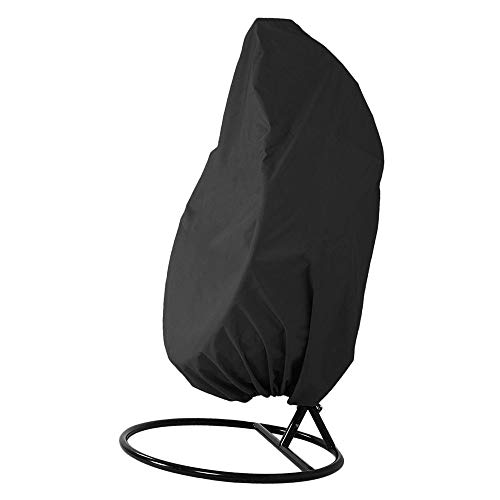 ND Patio Hanging Egg Chair Cover Outdoor, Garden Rattan Wicker Breathable Swing Chair Cover, waterproof, Anti-dust UV Resistant 190cm(75'') x 115cm(45'') (black)
