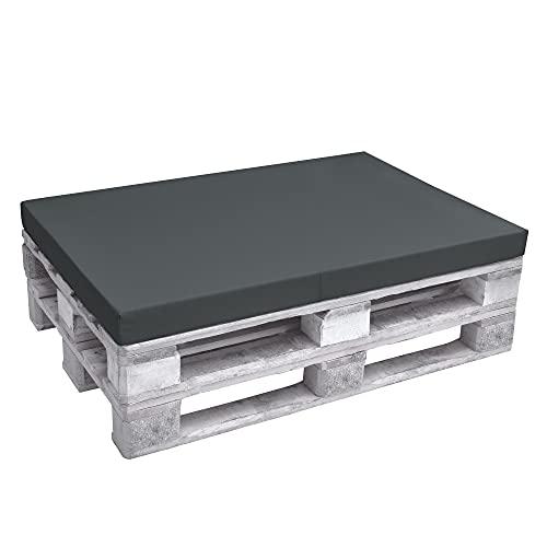 Beautissu Cojín Asiento para palés Eco Pure - Cojín Plegable Acolchado Tapicerías In/Outdoor Europalés 120x80x8cm - Gris Grafito