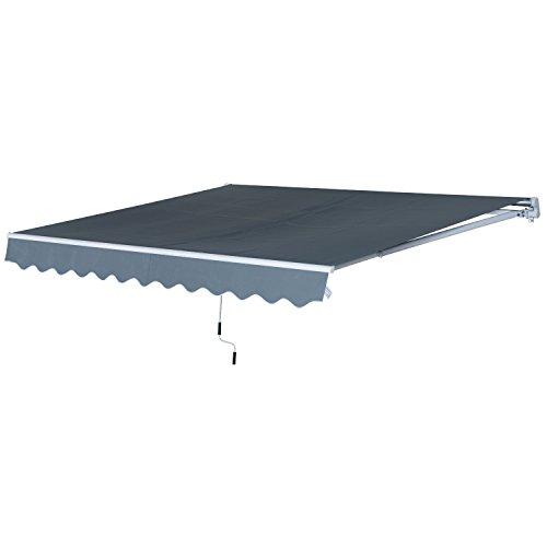 Outsunny Store banne Manuel rétractable Aluminium Polyester imperméabilisé 4L x 2,5l m Gris