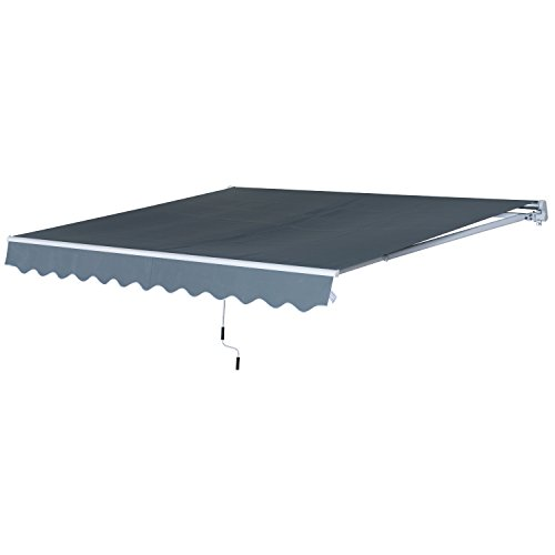 Outsunny Tenda da Sole Avvolgibile a Parete a Braccio Manuale con Manovella per Esterno Tessuto di Poliestere Alluminio 365 × 250cm Grigio