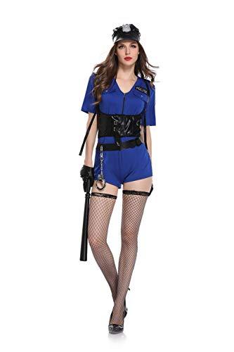 Damen Jumpsuit Aus Lackleder Sexy Klamotten Rollenspiel Sex Anzug Rock Reißverschluss Polizeiuniform Halloween Kostüm Blau