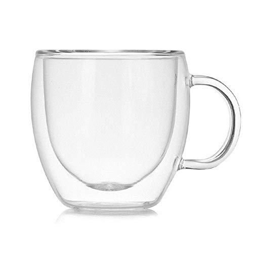 Taza de vidrio de doble capa Taza de oficina resistente al calor de borosilicato Tazas de mesa para el hogar Aislamiento térmico Té Leche Tazas de café tazas de café de vidrio tazas de viaje, V