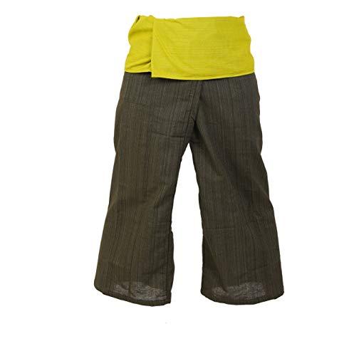 2 Ton Thai Fisherman Hose Yoga Hosen gratis Größe Plus Size Cotton Drill Olive Green Stripe