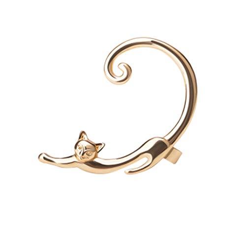 Earrings for Women for Birthday Lazy Cat Ear Hanging Ear Bones Earrings Cute Irregularearrings Female Stud Earrings for St.Patrick's Day in (Gold)