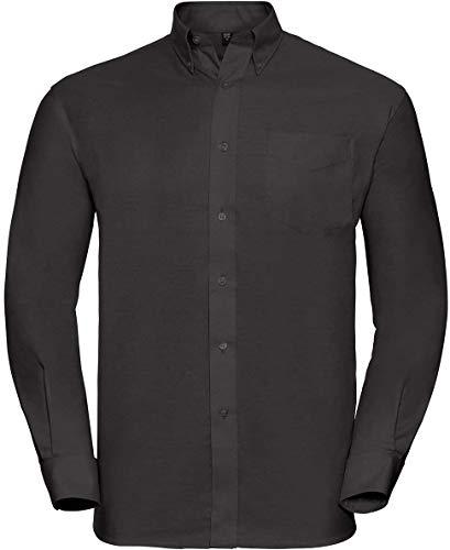 Russell Collection Hemd, Oxford, langarm, Große Größe, Herren, Noir - Noir