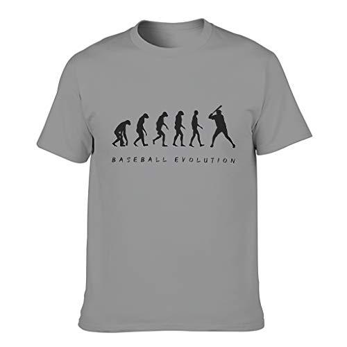 Ginald Mens Baseball Evolution cotone T Shirt - Elegante Top Wear Grigio scuro XL