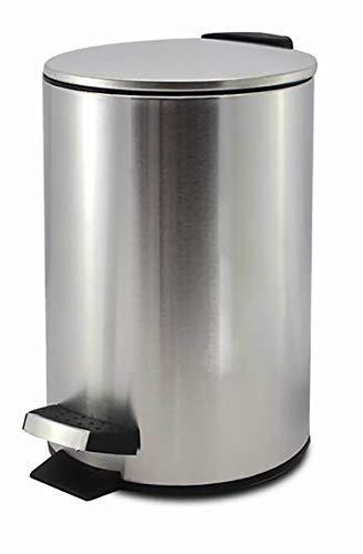 Papelera Metálica Plata, Papelera para Oficina, baño con Tapa y Pedal. Capacidad de 3 litros. 17x24,5cm - Hogar y Más