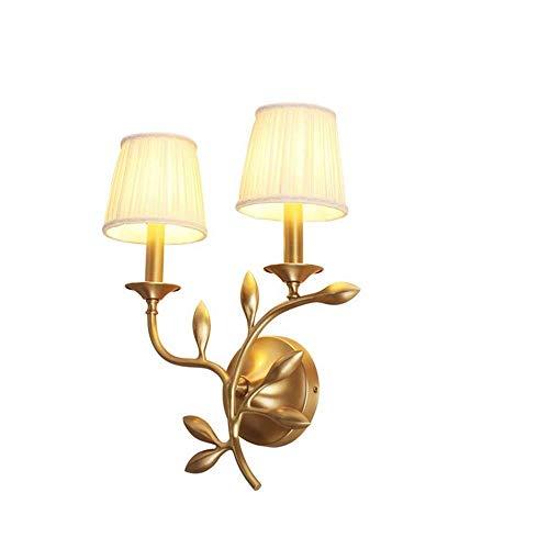 Apliques de Pared Lámpara de Pared Simple Lámpara de Noche de Cobre Iluminación Dos Cabezas Cabeza única Cabeza Doble 3-10 Dormitorio Cuadrado Sala de Estar Pasillo de Estudio (Tam