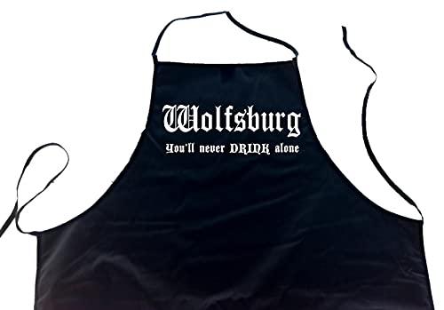ShirtShop-Saar Wolfsburg - You'll Never Drink Alone; Schürze (Latzschürze - Grillen, Kochen, Berufsbekleidung, Kochschürze), schwarz