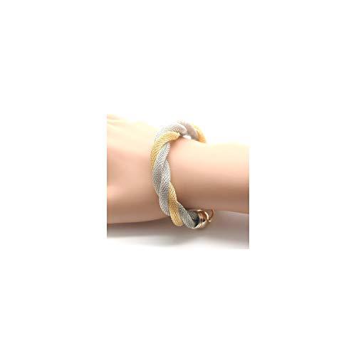 Pulsera Brazalete, Regalo De La Joyería,Simple Style Alloy Multilayer Woven Bracelet Metal Bangle For Women Color as picture2