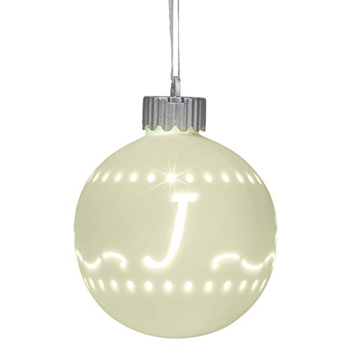 Mark Feldstein & Associates J LED Monogram White Bisque 4 x 4 Porcelain Ceramic Decorative Hanging Ornament