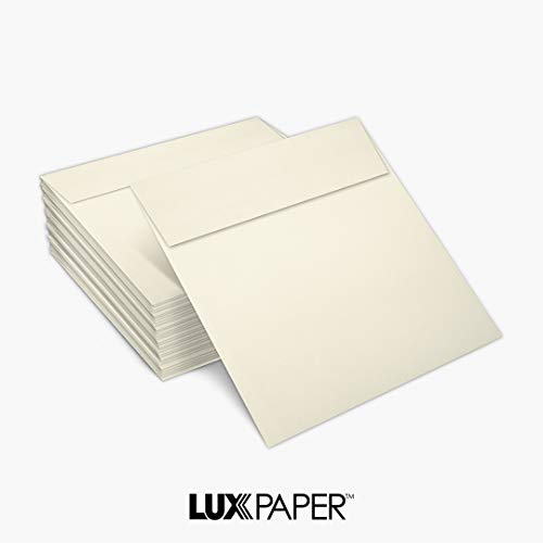 LUX Paper Square Invitation Envelopes for 6 1/4 x 6 1/4 Cards in 70 lb. Natural, Printable Envelopes for Invitations, with Peel & Press Seal, 50 Pack, Envelope Size 6 1/2 x 6 1/2 (Off-White) Photo #2