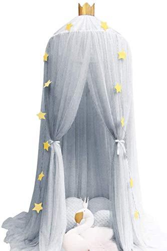 Grau Baldachin, Wenscha Baby Baldachin Betthimmel Kinder Baumwolle Bettvorhang Moskitonetz babybett für Schlafzimmer Ankleidezimmer Dekoration Spiel Lesen Zeit, Höhe 240cm, mit Sternengirlande