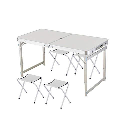 WYJW - Mesa de camping plegable con altura ajustable, tubo cuadrado de aluminio, mesa plegable multifuncional con agujero para sombrilla para fiestas de barbacoa, con asa (blanco), 4 taburetes de tela