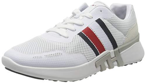Tommy Hilfiger Herren Lightweight Corporate TH Runner Sneaker, Weiß (White Ybs), 44 EU