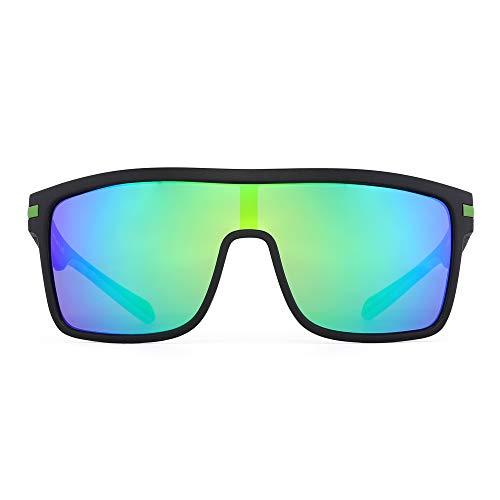 JIM HALO Gafas de sol con escudo polarizado, gafas cuadradas de gran tamaño con parte superior plana para hombres (montura negra/lente verde con flash polarizado)