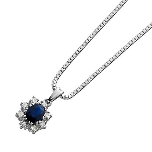 Ch.Abramowicz Saphir Diamant Collier Weiss Gold 585 1 echter Saphir Edelstein Lady DI Style Anhänger 42cm 42