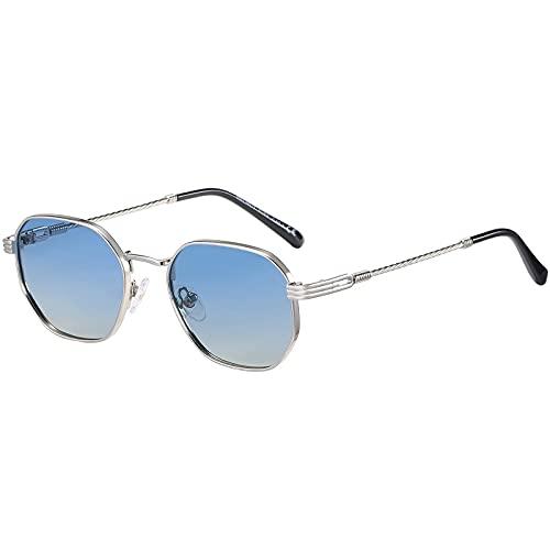 H HELMUT JUST Sonnenbrille für Herren Damen Blau Gläser Sechseckige Vintage Retro Polarisiertes Linse