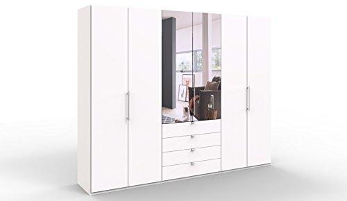 WIEMANN Loft Kleiderschrank, Schlafzimmerschrank, Gleittürenschrank, Drehtürenschrank, mit Spiegel, Schubladen, in weiß, B/H/T 300 x 236 x 58 cm