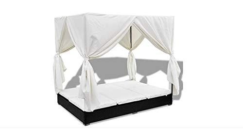 Divano da giardino per esterni, in rattan sintetico, con tenda, per 2 persone, 197 x 140 x 180 cm, colore: nero
