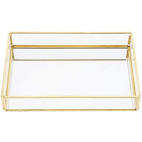 CjnJX-Vases Bandeja de joyería de Oro, Caja de Almacenamiento de Vidrio de Metal Bandeja de exhibición de cosméticos de joyería Cajas de exhibición para joyerías Familia, Vintage(20 * 14 * 3.5cm)