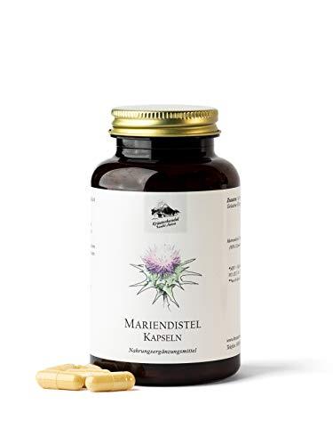 KRÄUTERHANDEL SANKT ANTON® - Mariendistel Kapseln - Hochdosiert - 80% Silymarin Anteil aus Mariendistelsamen - Deutsche Premium Qualität (90 Kapseln)