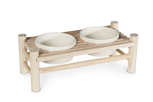 Karlie Wonderland eettafel voor knaagdieren van natuurlijk hout - in 2 maten - 24 x 10 x 8,5cm (2 Näpfe)