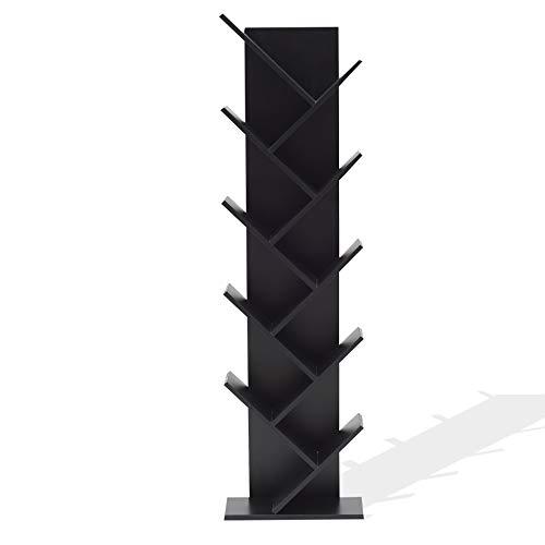 Rebecca Mobili Librería Negra, Biblioteca diseño Moderno, 10 estantes, Madera MDF, Sala de Estar Dormitorio - Medidas: 160 x 44,5 x 22 cm (AxANxF) - Art. RE4654