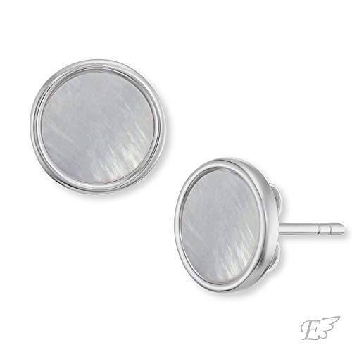 Engelsrufer - Muschel Perlenohrringe für Damen, elegante Ohrstecker aus 925 Sterlingsilber rhodiniert, Silber Ohrringe mit grauem Muschelkern rund