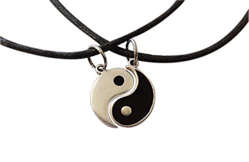 Yin Yang Colgantes para Pareja chapado plata. TAO Amuleto de la suerte con collares. Joya artesanal. Original regalo para hombre y mujer, cumpleaños, aniversario boda, compromiso, Día de San Valentín