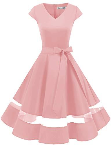 Gardenwed 1950er Vintage Retro Rockabilly Kleider Petticoat Faltenrock Cocktail Festliche Kleider Cap Sleeves Abendkleid Hochzeitkleid Blush 2XL