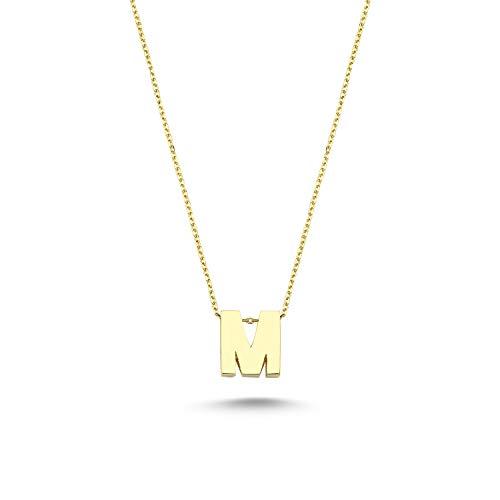 Onlinetaki.com Colgante de oro de 14 quilates (585) con letra, colgante en el cuello.