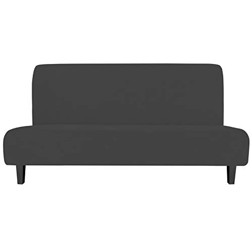 Easy-Going Stretch Sofa Slipcover Armless Sofa Cover Furniture Protector Without Armrests Slipcover Soft with Elastic Bottom for Kids, Spandex Jacquard Small Checks( futon, Dark Gray)