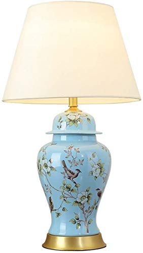 Fashion Individuality Creative Table Lamp American Village Style Ceramics Pastoral Hand-Painted Bedside Lamp Cloth Lampshade 40CM*70CM Desk lamp