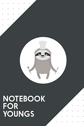 """Notebook for Youngs: Dotted Journal with Sloth cook chef with fork and spoon Design - Cool Gift for a friend or family who loves meal presents! 