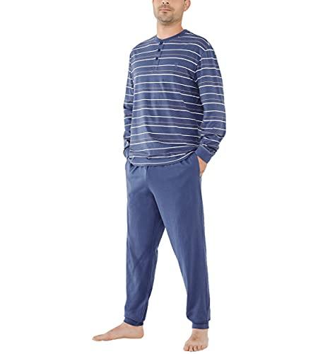El Búho Nocturno - Pijama Hombre Largo Tapeta Punto Rayas Azul 100% algodón Talla 6 (XXL)