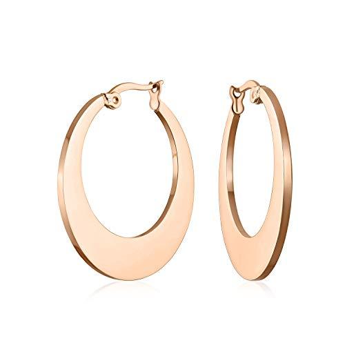 Flat Oval forma moda grande aro pendientes para las mujeres rosa oro plateado acero inoxidable 1.25 Dia