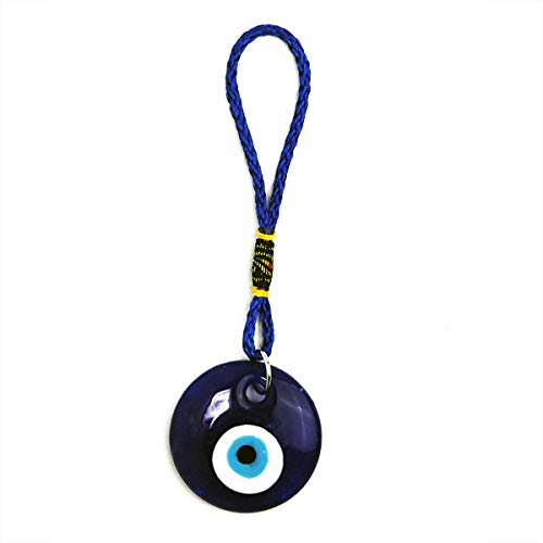 "LUCKY EYE MAGIC - Lucky Blue Evil Eye Pendant Charm for Strength, Power, Stability and Wisdom, Hanging Charm for Entry Door, car etc, Great Gift, Silver, 1.5"" x 5"""