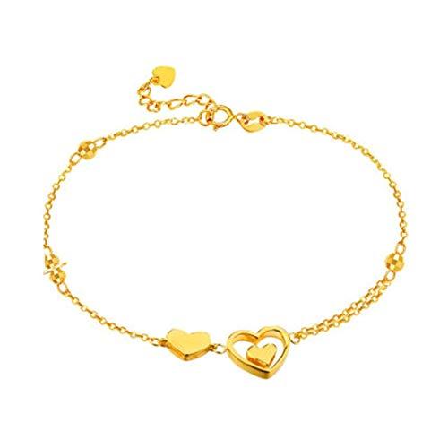 KnBob 18K Yellow Gold Bead Double Heart Hollow Bracelet for Women Chain Bracelet 7.5 Inch