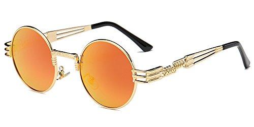 BOZEVON Retro Steampunk Style ispira Rotondi Metal Circolari Occhiali da sole per le Donna e gli Uomo, Oro-arancione specchio